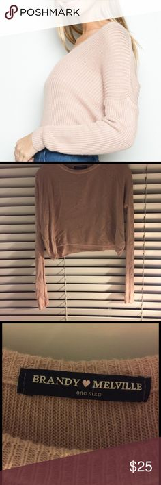 Brandy pink nude sweater So cute and easy to wear a few loose stands not noticeable Brandy Melville Sweaters