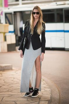 Runway downtime - simple jersey with a super high homemade slit worn with trainers.