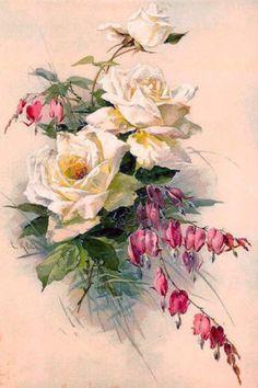 Catherine-Klein-Roses-Bleeding-Hearts-Art-Print-Cottage-Farmhouse-Matted-12x16