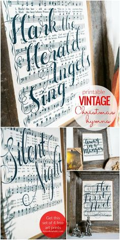 Vintage Decor Diy Add some classic holiday cheer to your decorating with this free set of vintage Christmas music printables. Four classic Christmas hymns in a farmhouse-style black and white art print. Church Christmas Decorations, Christmas Signs, Rustic Christmas, Christmas Art, White Christmas, Vintage Christmas, Christmas Ideas, Christmas Ornaments, Christmas Song Quotes