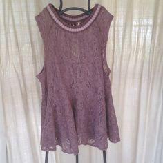 Free People lace top Lace top in a lavender grey. Open key hole in back. Free People Tops Tank Tops