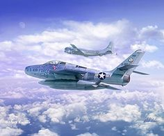 "F-84F Thunderstreak and UFO Aviation Art Print 11/"" x 14/"""