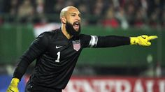 Tim Howard - A fantastic World Cup for USA and Everton keeper, Tim Howard. Setting a World Cup record of the most saves in an individual game [16] against Belgium, with the best save being the ninth when Kevin Mirallas went through on a one on one chance with an outstretched left leg by Howard which pushed the ball away to safety. He also had an outstanding performance against Portugal although he conceded 2. World Cup 2014, Fifa World Cup, Kevin Mirallas, One Chance, The Nines, Everton, Football Players, Pitch, Belgium