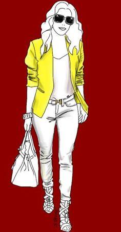 Gut für kleine Frauen: In der Mitte streckt eine weiße Farbsäule mit nude-farbenen Booties, am Oberkörper zieht ein gelber Blazer den Blick nach oben.