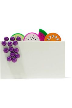 Multicolored Perspex Magnetic fastening at top Comes with gold canvas pouch Comes with dust bag Made in Italy