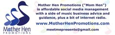Mother Hen Promotions banner ad designed by Russell Paris at JRP Graphics, December Ad Design, Graphic Design, Internet Radio, Business Advice, Promotion, December, Banner, Management, Ads