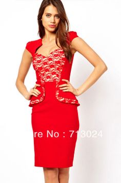 1d8612aba9c6 New Fashion Summer Women Sexy Hybrid Peplum Midi Dress with Lace Insert and  Sweetheart Neckline Party