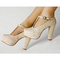 lace ivory and thick heel!!!!