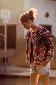 Multicolor Embroidered Crop Jacket, Christophe Sauvat $695 Stones Crochet Lace Top, Somedays Love $59 Chambray Short, One Teaspoon $139 Turquoise Beaded Single Wrap Bracelet, Chan Luu $70 Mini Kite Waif Ring, $500