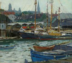 Gloucester Harbor by Aldro T.  Hibbard (1886-1972).  Oil on canvas board.
