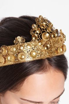 Embellished Opulence: we're taking 'more is more' as our fashion directive for fall. Dolce & Gabbana | Gold-plated filigree crown.