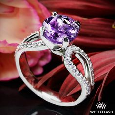 Purple amethyst infinity engagement ring in platinum