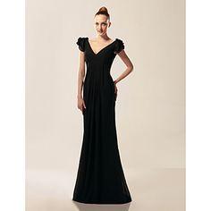 Chiffon Trumpet/Mermaid V-neck Short Sleeve Sweep/Brush Train Evening Dress – USD $ 149.99