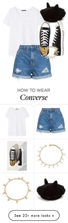 """Meow!"" by strangefruixt on Polyvore featuring Maison Michel, Violeta by Mango, Nobody Denim, Converse, Lucky Brand and Bling Jewelry"