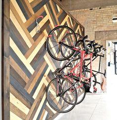 Thinkform Architecture + Interiors: Thalamic Labs Wall Mounted Bike Rack #Work #Wood #Office #Corporate #Tech #Bikes #Bike #BikeRack #Herringbone #ThalmicLabs #Architecture #InteriorDesign #Design #Interiors #ArchitecturalPhotography #BrickandBeam #Brick #DTKLove #KWAwesome #Downtown #Kitchener #TechTriangle #SiliconValleyoftheNorth #ThinkformArchitects #Reclaimed #Urban #UrbanRenewal #Industrial #Contemporary #Modern #Inspiration