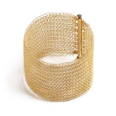 """A 1.9"""" (4cm) luxurious cuff bracelet, crocheted using quality gold filled wire. An impressive piece that is at the same time modern and classic. The cuff has 2 layers, which gives it a special glamoro"""