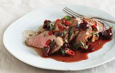 Grilled Pork Tenderloin with Cherry Salsa. The sweet, sour, and piquant flavors of this cherry sauce come together as you grill the pork. For an even quicker meal, make the sauce and marinate the meat the day before. Grilled Tenderloin, Pork Tenderloin Recipes, Pork Loin, Sirloin Roast, Pork Tenderloins, Pork Fillet, Roast Beef, Quick Recipes, Cooking Recipes