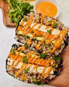 Chipotle, Healthy Menu, Healthy Eating, Delicious Vegan Recipes, Healthy Recipes, Drink Recipes, Vegetarian Recipes, Dinner Recipes, Tofu
