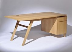 The Mollino Australian Designed executive Desk incorporates an angled leg that creates an inspiring and unique statement and it is featured in natural quarter-sawn oak from Solid Wood Furniture, Handmade Furniture, Furniture Design, Office Furniture, Best Home Office Desk, Office Workstations, Secretary Desks, Desk Set, Furniture Manufacturers