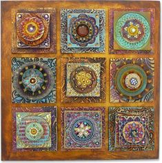 layered-look quilt in polymer clay - by Laurie Mika