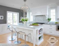 This white kitchen features Chelsea Gray by Benjamin Moore painted kitchen walls.