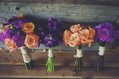 Vibrant fall bouquets! Photo by http://wrecklesscreative.com Flowers by Lindsey Grannis of http://weddingsinsteamboat.com