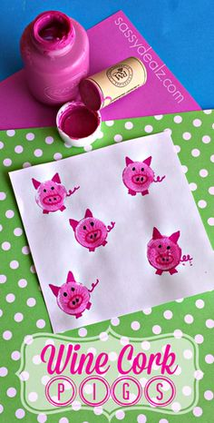 Make pigs by stamping wine corks in pink paint! #Kids craft | http://www.sassydealz.com/2014/04/make-pigs-using-wine-corks-kids-craft.html