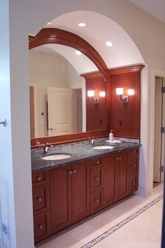 Attirant Cherry Wood Cabinet   Large Arched Mirror, Two Sink Vanity With Nine  Drawers All For