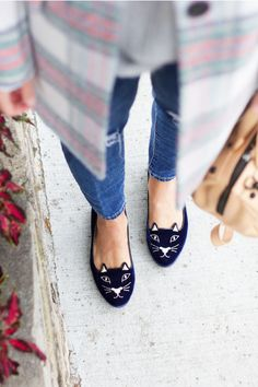 Charlotte Olympia Kitty Flats (in black, obv)
