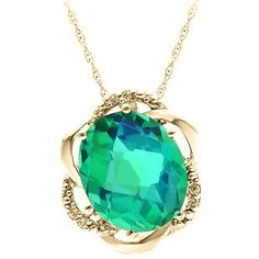 Bold Oval Cut Caribbean Quartz Gemstone Diamond Yellow Gold Pendant Available Exclusively at Gemologica.com