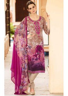 Ayesha Takia In Cream & Pink Crepe Salwar Suit  - FA395-7006