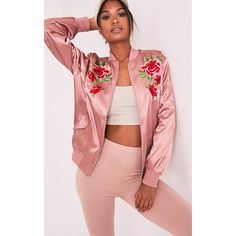 Babita Rose Satin Floral Applique Bomber Jacket - 6 (996490 BYR) ❤ liked on Polyvore featuring outerwear, jackets, pink, red sports jacket, flight bomber jacket, oversized bomber jacket, satin jackets and floral jacket