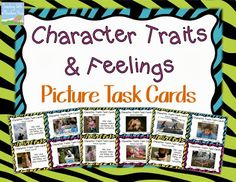 FREEBIE {for a limited time}.  Character Traits & Feelings Picture Task Cards!