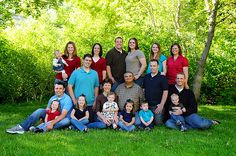 traditional but bright colors, family portraits for a larger group. nice