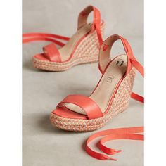 3c3ec9b90626c Anthropologie Shoes | Anthropologie Vanessa Wu Coral Wedge Sandals Shoes |  Color: Red/Tan | Size: Various