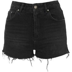 TOPSHOP MOTO Raw Hem Mom Shorts ($52) ❤ liked on Polyvore featuring shorts, washed black, high rise shorts, highwaisted shorts, black high waisted shorts, highwaist shorts and high waisted cotton shorts