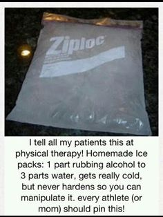 Homemade ice packs -1 part rubbing alcohol to 3 parts water, gets really cold, but never hardens so youu can manipulate it.