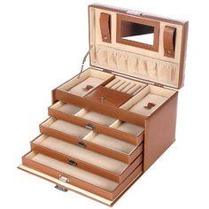SONGMICS Pink Wooden Jewelry Box Girls Storage Organizer Case w
