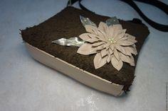 """Купить Кожаная сумочка с цветком """"Шоколад"""" модель1 - кожаная женская сумка, сумочка мини"""