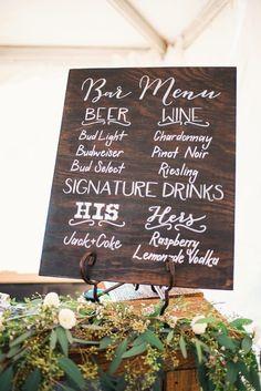 Romantic Missouri Farm Wedding Wedding cocktail hour sign idea – wooden cocktail sign with beer, wine + signature cocktail list {Cody Krogman Photography} Diy Wedding Reception Food, Beer Wedding, Wedding Catering, Wedding Signs, Farm Wedding, Wedding Ideas, Trendy Wedding, Wedding Bells, Wedding Favors