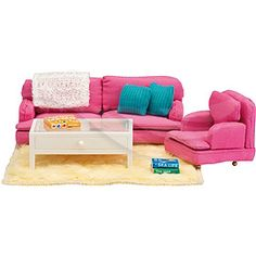 Lundby Smaland Sitting Room Set couch NEW doll furniture Childrens Bedroom Furniture, Lounge Furniture, Doll Furniture, Dollhouse Furniture, Fashion Design For Kids, Pink Sofa, Blue Cushions, Dollhouse Accessories, Living Room Sets