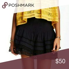 Free People Crochet Trim skirt Tiered mini skirt with pintucked detail and crochet trim Free People Skirts