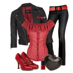 """""""Bleeding Hearts contest #2"""" by jeanean-brown on Polyvore... Minnie Mouse meets Biker Chick...Black & Red Bad Ass Outfit!"""