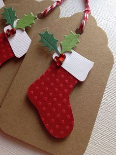 Cards With Dimension Paper Crafts Class Layered Paper Gift Tag Featuring a Christmas Stocking and Holly Cute Christmas Gifts, Christmas Gift Wrapping, Holiday Gifts, Christmas Stockings, Homemade Christmas, Christmas Tags Handmade, Holiday Cards, Christmas Projects, Christmas Crafts