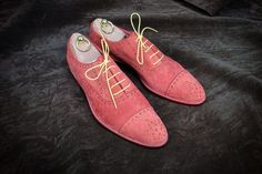 Dominique Saint Paul. Half brogue shoes in red pink Veloucalf Italian suede.