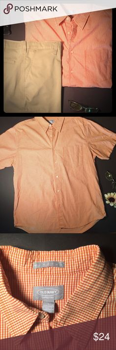 Get this Dreamy Tangerine Shirt Awesome Old Navy short sleeve shirt. EUC, no visible flaws. No stains, snags, or pilling. Read the small print: average same day shipper, top 10% seller, 4.9/5 rated. Shorts sold separately. Old Navy Shirts Casual Button Down Shirts