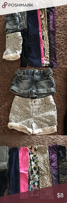 10 piece bottoms bundle. Girls 5/6 2 shorts, 2 tights, 6 leggings. Fair condition (hence the low price). Mostly target brand items Bottoms