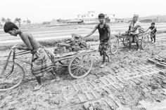 Brick-making workers, boys and children working hard at a brick factory near Chittagong, Bangladesh, Indian Sub-Continent, Asia