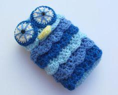 #Blue #owl #crochet #iphone #case by @Connie Hamon Brzowski Serratt Flower www.cocoflower.net