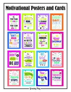 "Need some wall art for the classroom or bulletin board to motivate and encourage your students? Perhaps you want to personally give a student a small card with a motivating statement to carry with him/her to have some encouraging words when needed. This digital document includes 16 motivational posters (size 8.5""x11"") and 16 smaller versions (2.5""x3.5"") of the posters - 9 cards on one page."